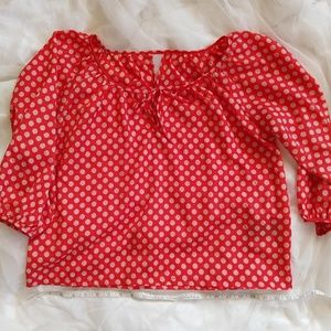 Forever 21 Red Dot Bow Neck Top S